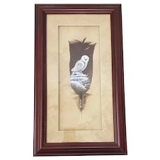 Snowy White Barn Owl on Turkey Feather by Amish Artist Miller