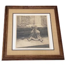 """Vintage Lithograph """"Eleanor"""" A Charming Young Girl with a Frog c.1970s"""