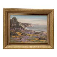 Early 20th c. California Coastal Oil Painting with Wildflowers c.1920
