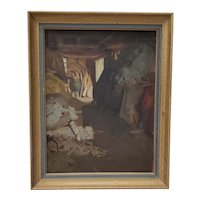 "Late 19th c. to Early 20th c.  ""Barn / Workshop Interior""  Original Oil Painting"