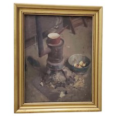 "Late 19th C. To Early 20th C. ""Pot on the Stove"" Original Oil Painting"