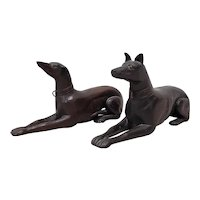 Pair of Late 19th to Early 20th Century Hand Carved Wooden Greyhounds