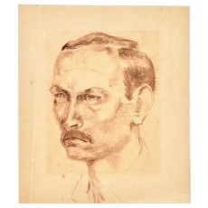 Vintage Charcoal Portrait on Paper c.1930s