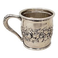 Late 19th Century Sterling Silver Christening Cup w/ Floral Pattern c.1895