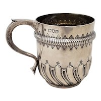 Late 19th Century Hand Tooled Sterling Silver Christening Cup c.1897