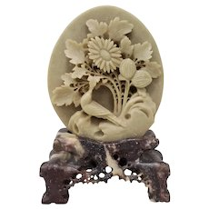 Vintage Chinese Soapstone Sculpture with Bird and Flowers