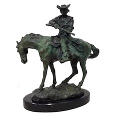 Vintage Bronze Sculpture of a Horse and Rider with a Gun by Silka