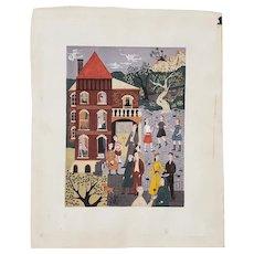"Original Illustration ""Room for Rent"" by Sally Eppenstein c.1941"