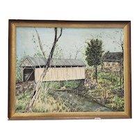 """Vintage """"Covered Bridge"""" Original Oil Painting by Millward c.1974"""