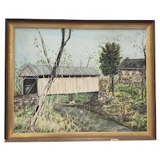 "Vintage ""Covered Bridge"" Original Oil Painting by Millward c.1974"