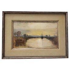 """J.M.W. Turner """"Chichester Canal"""" Vintage Framed Print c.1960s"""