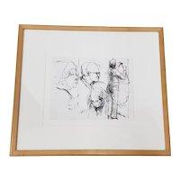"""Elmer Nelson Bischoff (1916-1991) """"Three Heads, Two Women"""" Original Sketch c.1969"""