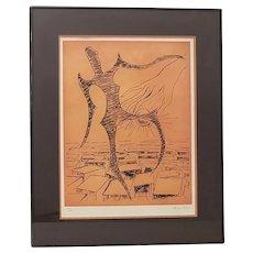 "Man Ray (1890-1976) ""Rebus"" Original Pencil Signed Etching c.1972"
