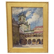 Antique Oil on Paper Southern European Courtyard with Arched Walkways