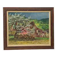 """Cecil Crosley Bell (1906-1970) """"Silver Maple Barn at Blanchards"""" Original Oil Painting c.1950"""
