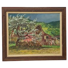 "Cecil Crosley Bell (1906-1970) ""Silver Maple Barn at Blanchards"" Original Oil Painting c.1950"