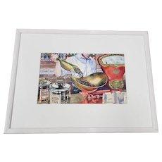 """Vintage """"Weighing Coffee Beans"""" Original Watercolor Painting by J. Morgan"""