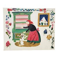 Vintage Illustration Painting of a Woman with a Dog