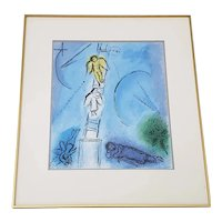"""Vintage Chagall """"Jacobs Ladder"""" Framed Lithograph Poster c.1970s"""