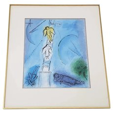 "Vintage Chagall ""Jacobs Ladder"" Framed Lithograph Poster c.1970s"