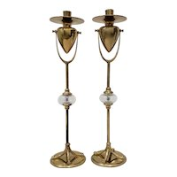 Pair of Vintage Plate Brass & Bulbous Glass Candlesticks by Chapman c.1989