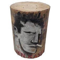 "Robert Loughlin (1949-2011) ""Ken Kesey"" Original Painting on Bark c.2007"