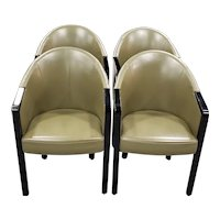 Set of Four Poltrona Frau Dark Green Leather Arm Chairs