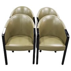 Set of Four Poltrona Frau Dark Green Leather Arm Chairs