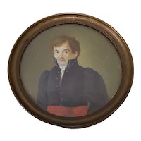 Fine 19th Century Portrait Miniature of a Young Military Man