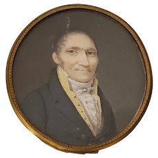 Fine 19th Century Portrait Miniature of a Man with a Yellow V Neck Collar