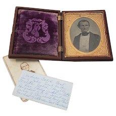 Mid 19th Century Gutta Percha Box w/ Photo's & Contemporary Notes on Genealogy