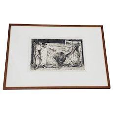 "Alfredo Zalca (Mexico, 1908-2003) ""Hamaca"" Original Pencil Signed Etching c.1947"