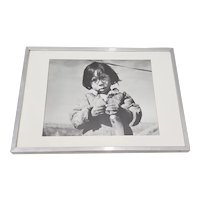 "Vintage ""Young Netsilik Inuit Eskimo Girl"" Framed Photograph by the Education Development Center c.1967"