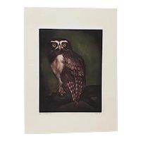 "Jack Coutu (1924-2017) ""Speckled Owl"" Original Pencil Signed Etching c.1968"