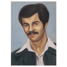Pastel Portrait of the Iranian Artist  Mohammad Hourian as a Young Man c.1970s