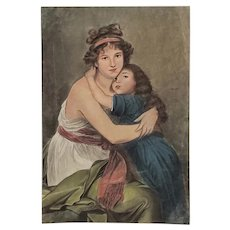 Fine Pastel Portrait of a Young Mother and Daughter Early to Mid 20th Century
