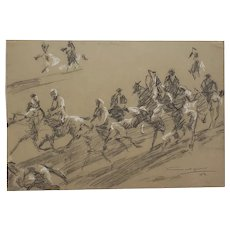 Mid-Century Charcoal Sketch of Men on Horses by Mystery Artist c.1959