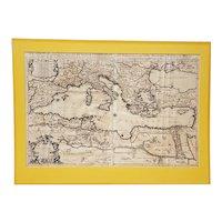 17th Century Mediterranean Sea Map W/ Neptune Cartouche C.1692