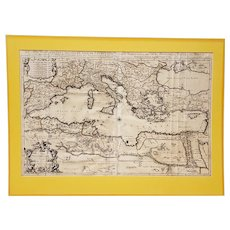 17th Century Mediterranean Sea Map W/ Neptune Cartouche C.1692