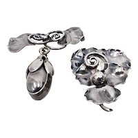 Two George Jensen Hand Wrought Sterling Silver Brooches