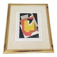 "Jacques Villon ""The Table with the Black Plug"" Vintage Framed Silkscreen Print"