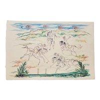 20th Century Original Persian Watercolor by Iranian Artist Mohammad Hourain
