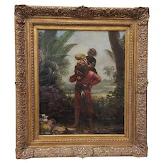 Sinbad With The Old Man Of The Sea On His Back Original Illustration Oil Painting 19th Century