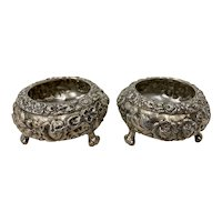 Elegant Pair of Late 19th Century Sterling Silver Open Salt Dishes