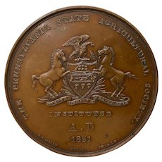 Pennsylvania State Agricultural Society Bronze Medallion c.1880