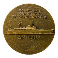 "Vintage ""Antilles"" Transatlantic Shipping Bronze Medallion c.1951"