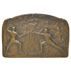 Fencing Bronze Medal by L. Coudray c.1910 / 1950