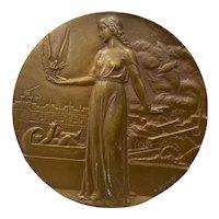 Conference de Paris Art Deco Bronze Medallion by R. Cochet c.1946