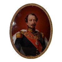 Fine 19th c. Portrait Miniature of Napoleon III, French Emperor