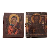 Russian Orthodox Icon Paintings on Wood Panels Early 20th Century